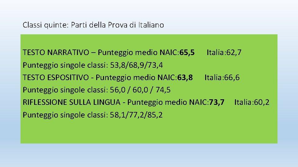 Classi quinte: Parti della Prova di Italiano TESTO NARRATIVO – Punteggio medio NAIC: 65,
