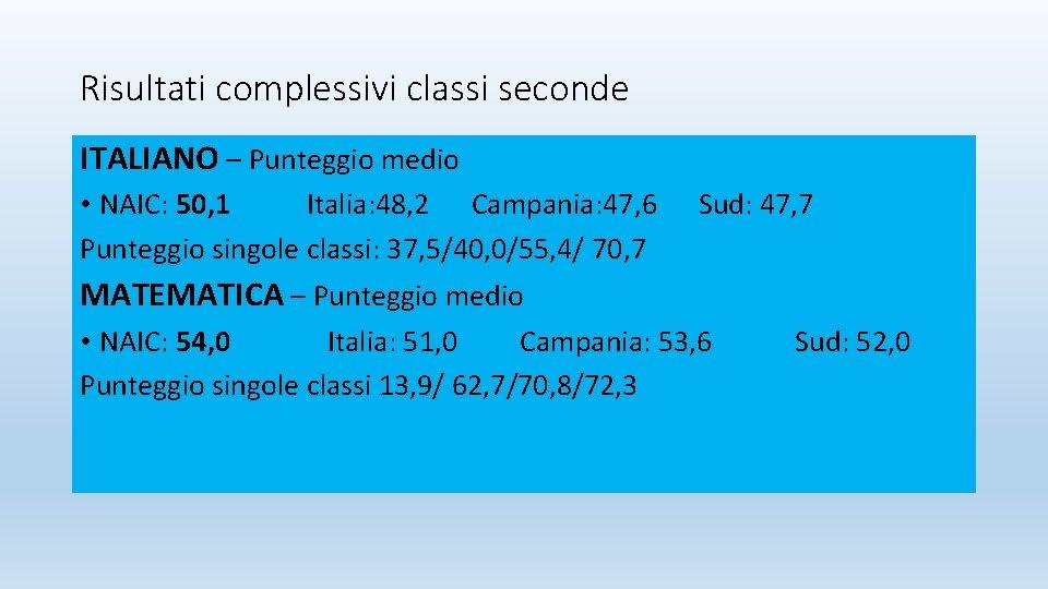 Risultati complessivi classi seconde ITALIANO – Punteggio medio • NAIC: 50, 1 Italia: 48,
