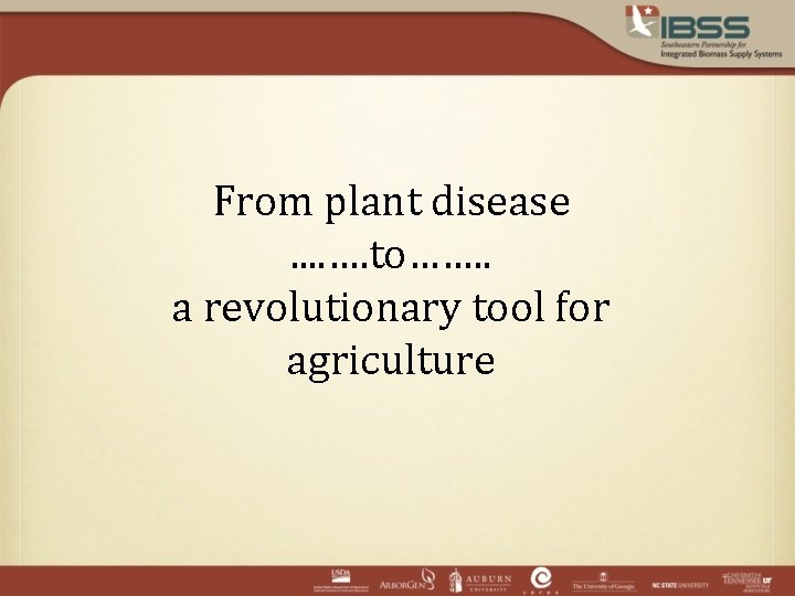 From plant disease. . …. to……. . a revolutionary tool for agriculture