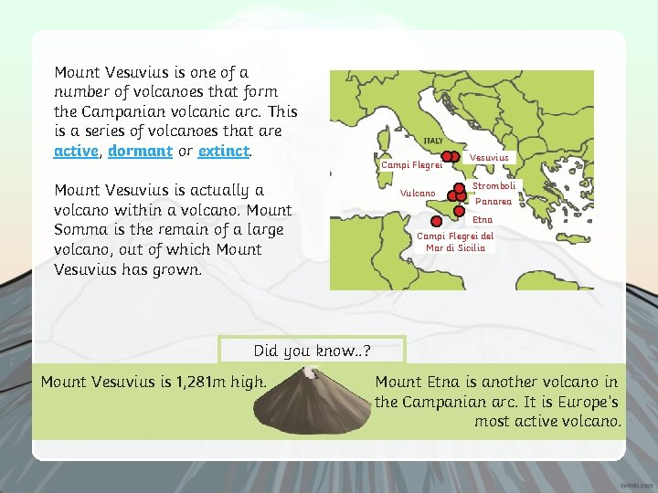 Mount Vesuvius is one of a number of volcanoes that form the Campanian volcanic