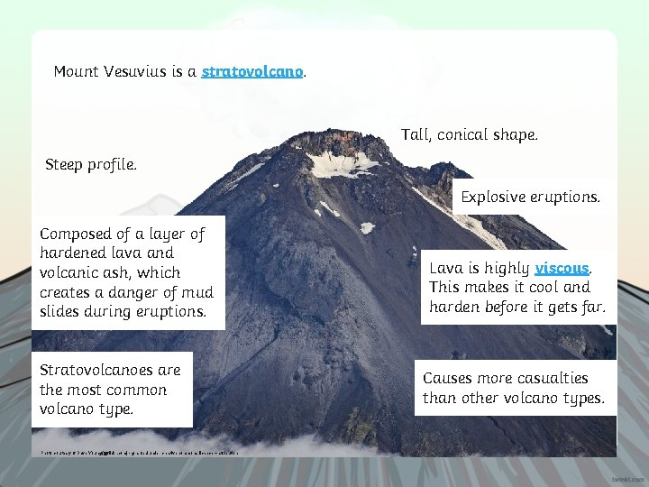 Mount Vesuvius is a stratovolcano. Tall, conical shape. Steep profile. Explosive eruptions. Composed of