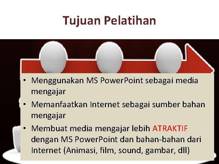 Tujuan Pelatihan • Menggunakan MS Power. Point sebagai media mengajar • Memanfaatkan Internet sebagai