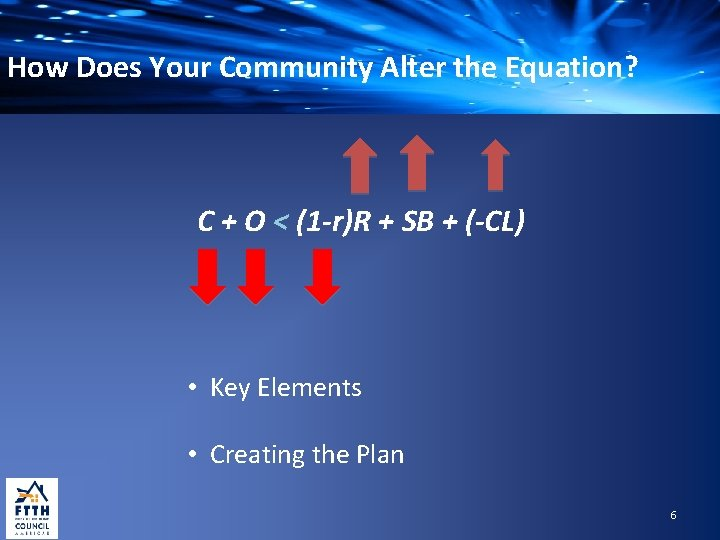 How Does Your Community Alter the Equation? C + O < (1 -r)R +