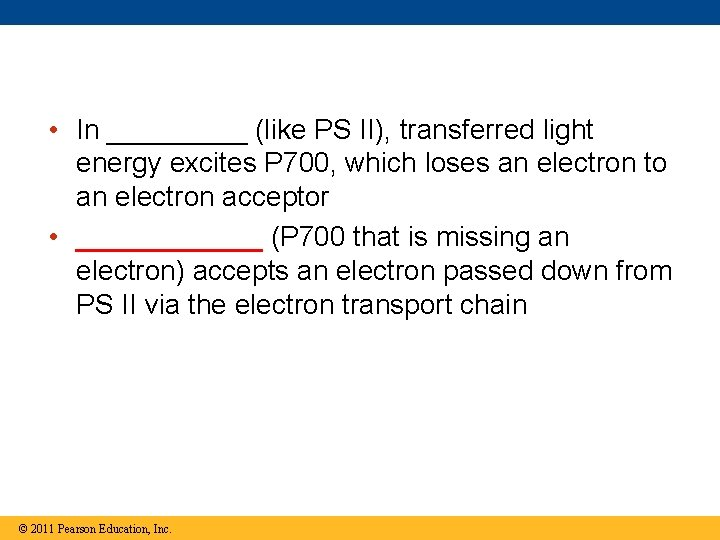 • In _____ (like PS II), transferred light energy excites P 700, which