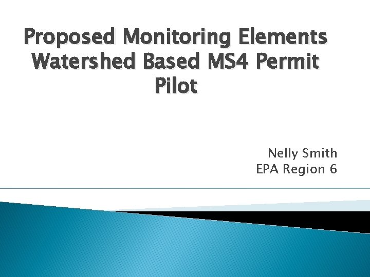 Proposed Monitoring Elements Watershed Based MS 4 Permit Pilot Nelly Smith EPA Region 6