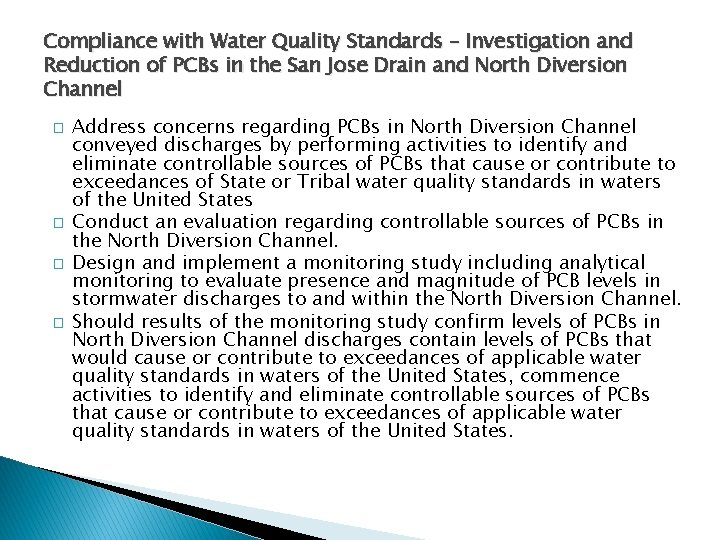 Compliance with Water Quality Standards – Investigation and Reduction of PCBs in the San