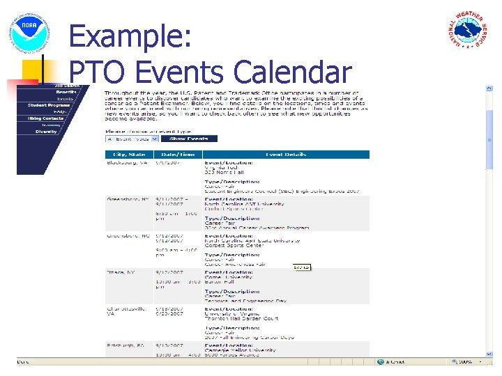 Example: PTO Events Calendar