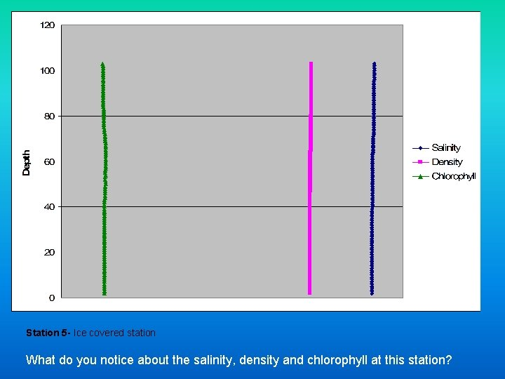 Station 5 - Ice covered station What do you notice about the salinity, density