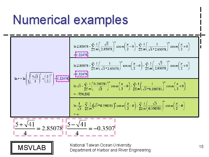 Numerical examples MSVLAB National Taiwan Ocean University Department of Harbor and River Engineering 15