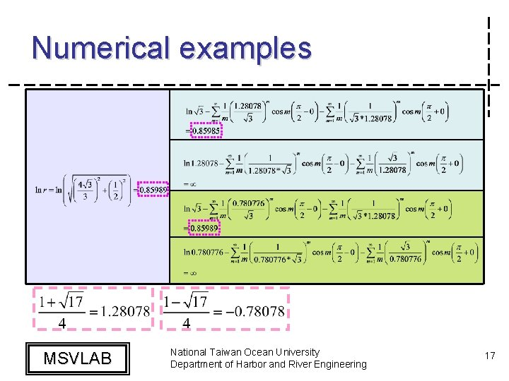 Numerical examples MSVLAB National Taiwan Ocean University Department of Harbor and River Engineering 17