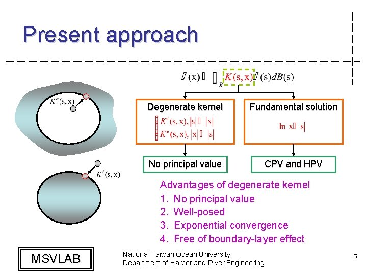 Present approach Degenerate kernel Fundamental solution No principal value CPV and HPV Advantages of