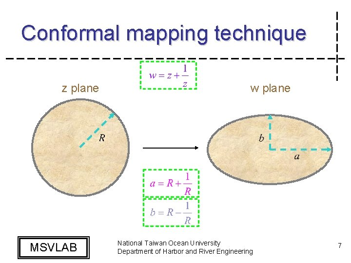Conformal mapping technique z plane MSVLAB w plane National Taiwan Ocean University Department of