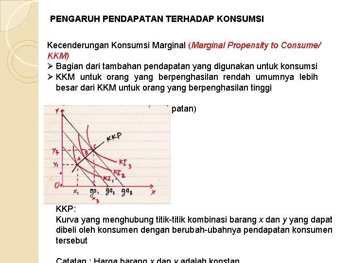 PENGARUH PENDAPATAN TERHADAP KONSUMSI Kecenderungan Konsumsi Marginal (Marginal Propensity to Consume/ KKM) Ø Bagian