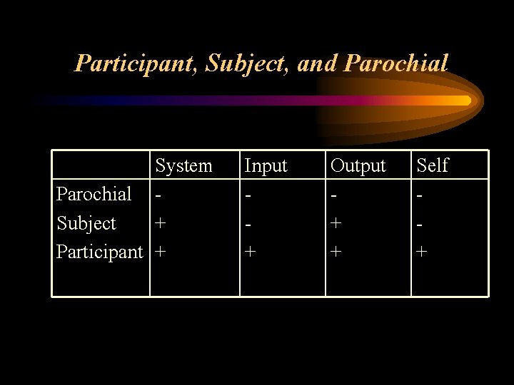Participant, Subject, and Parochial System Parochial Subject + Participant + Input + Output +