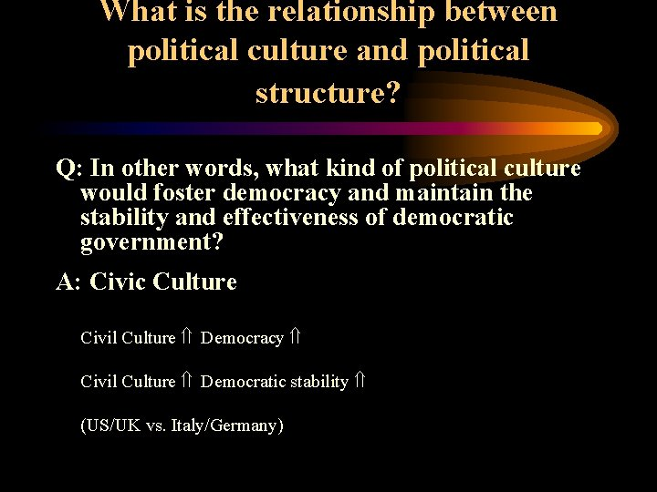 What is the relationship between political culture and political structure? Q: In other words,