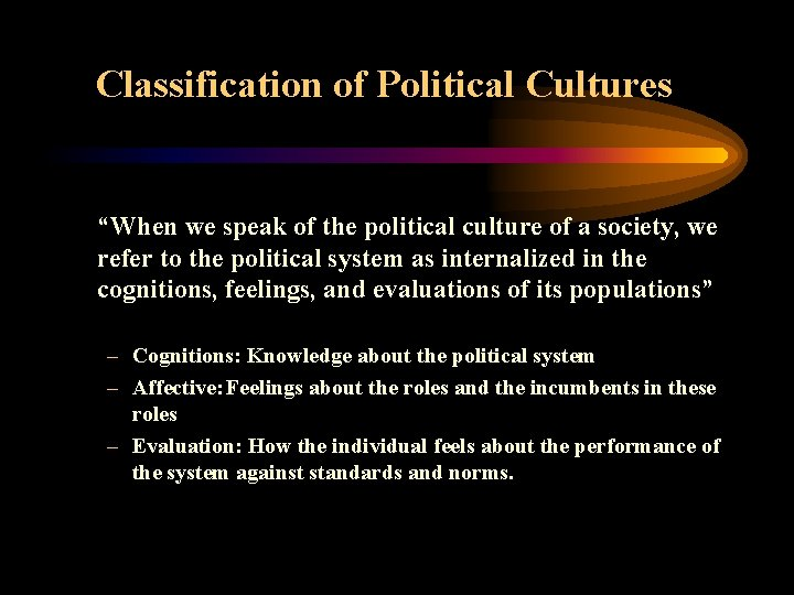 """Classification of Political Cultures """"When we speak of the political culture of a society,"""