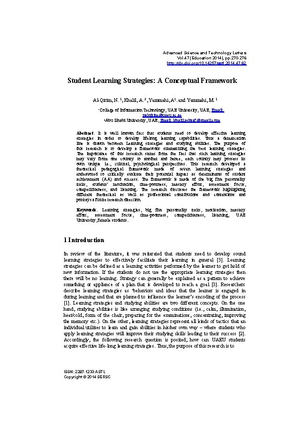 Advanced Science and Technology Letters Vol. 47 (Education 2014), pp. 270 -276 http: //dx.