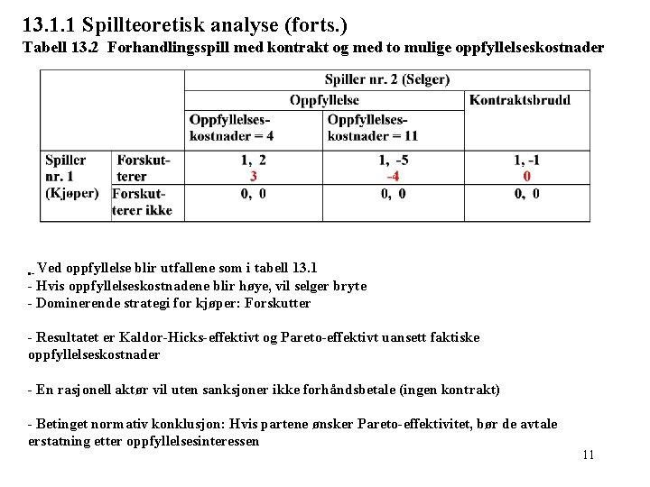 13. 1. 1 Spillteoretisk analyse (forts. ) Tabell 13. 2 Forhandlingsspill med kontrakt og