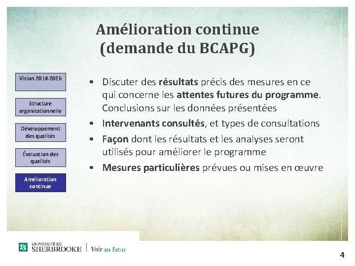 Amélioration continue (demande du BCAPG) Vision 2014 -2026 Structure organisationnelle Développement des qualités Évaluation