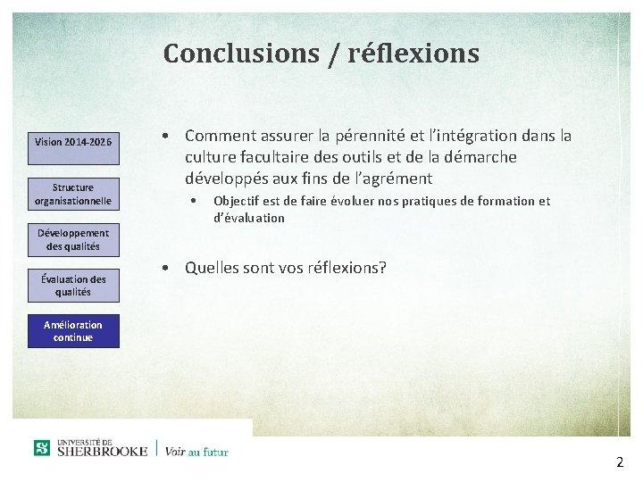 Conclusions / réflexions Vision 2014 -2026 Structure organisationnelle • Comment assurer la pérennité et