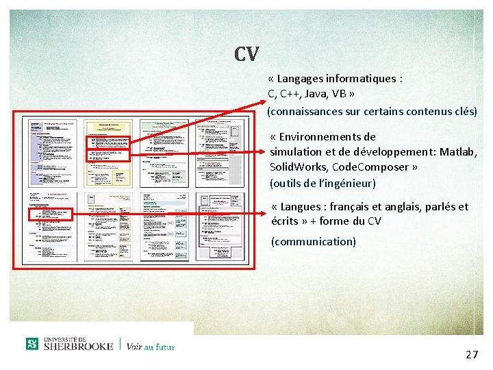 CV « Langages informatiques : C, C++, Java, VB » (connaissances sur certains contenus