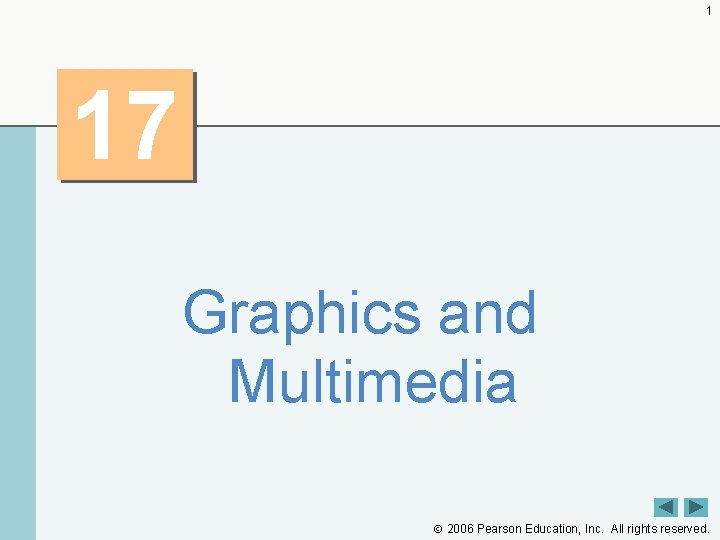 1 17 Graphics and Multimedia 2006 Pearson Education, Inc. All rights reserved.