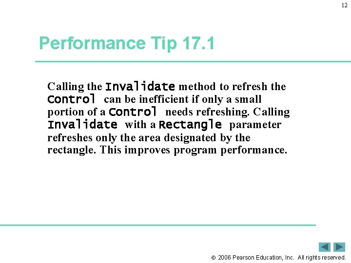 12 Performance Tip 17. 1 Calling the Invalidate method to refresh the Control can