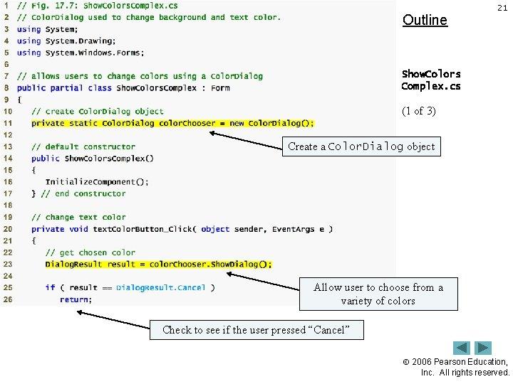Outline 21 Show. Colors Complex. cs (1 of 3) Create a Color. Dialog object