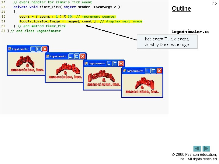 Outline 70 Logo. Animator. cs For every Tick event, (2 of 2) display the