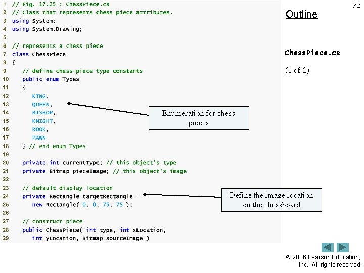 Outline 72 Chess. Piece. cs (1 of 2) Enumeration for chess pieces Define the