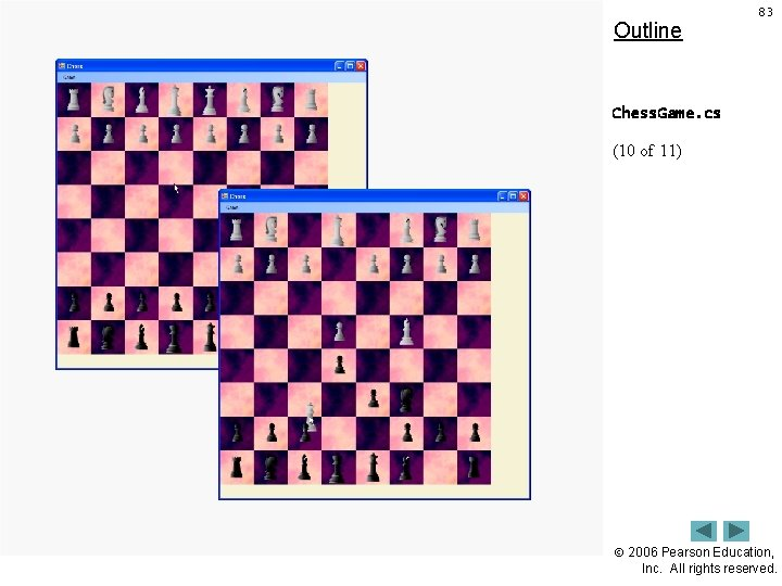 Outline 83 Chess. Game. cs (10 of 11) 2006 Pearson Education, Inc. All rights