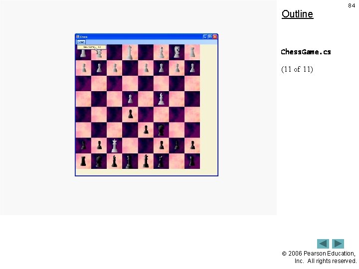 Outline 84 Chess. Game. cs (11 of 11) 2006 Pearson Education, Inc. All rights