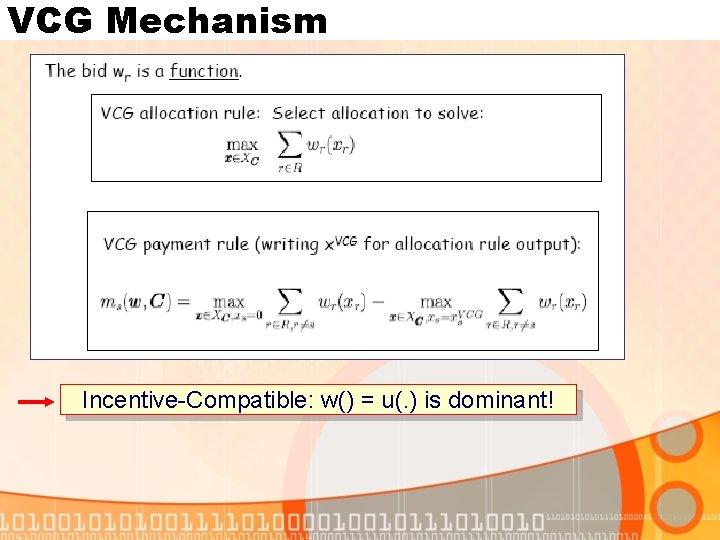 VCG Mechanism Incentive-Compatible: w() = u(. ) is dominant!