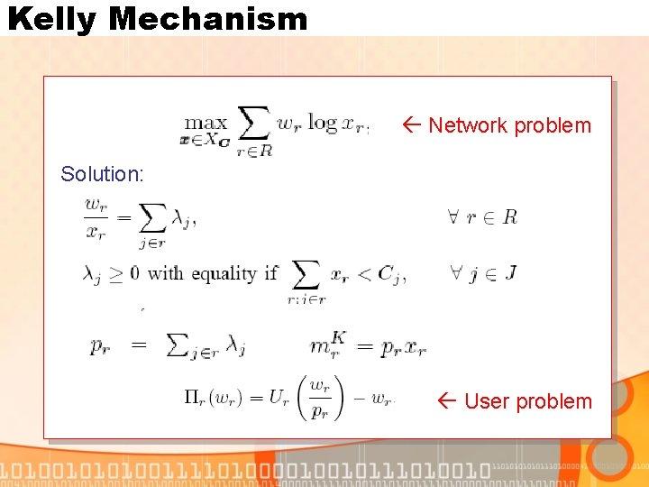 Kelly Mechanism Network problem Solution: User problem
