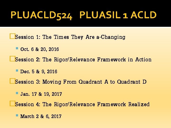 PLUACLD 524 PLUASIL 1 ACLD �Session 1: The Times They Are a-Changing Oct. 6