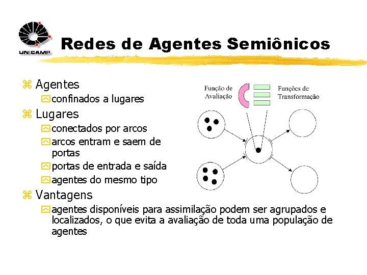 Redes de Agentes Semiônicos z Agentes y confinados a lugares z Lugares y conectados