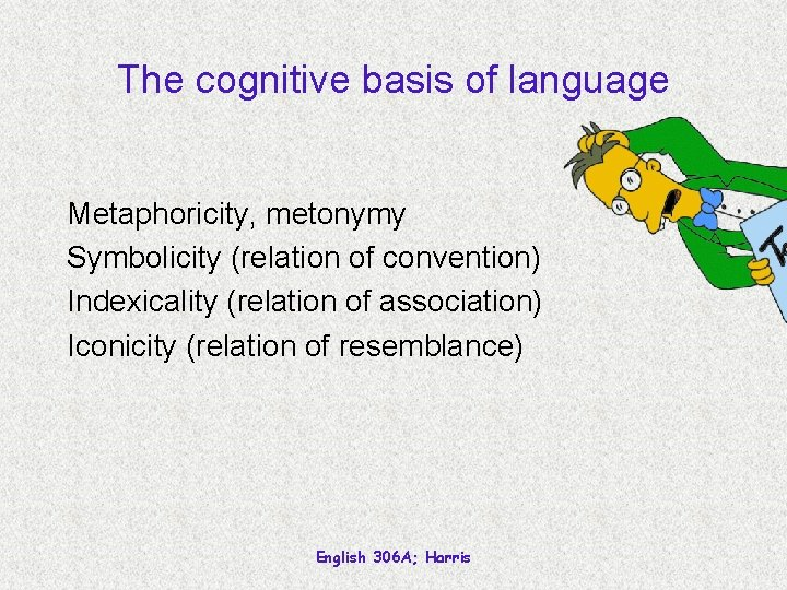 The cognitive basis of language Metaphoricity, metonymy Symbolicity (relation of convention) Indexicality (relation of