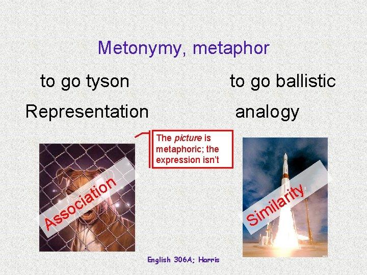 Metonymy, metaphor to go tyson to go ballistic Representation analogy The picture is metaphoric;