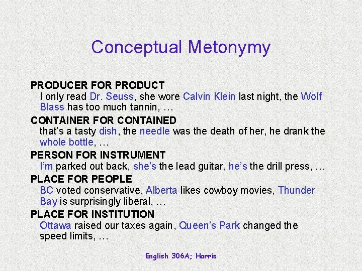 Conceptual Metonymy PRODUCER FOR PRODUCT I only read Dr. Seuss, she wore Calvin Klein
