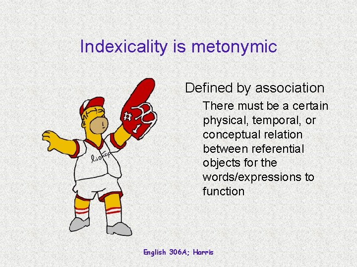 Indexicality is metonymic Defined by association There must be a certain physical, temporal, or