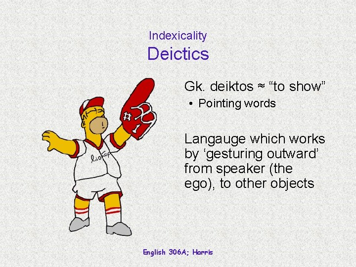 """Indexicality Deictics Gk. deiktos ≈ """"to show"""" • Pointing words Langauge which works by"""