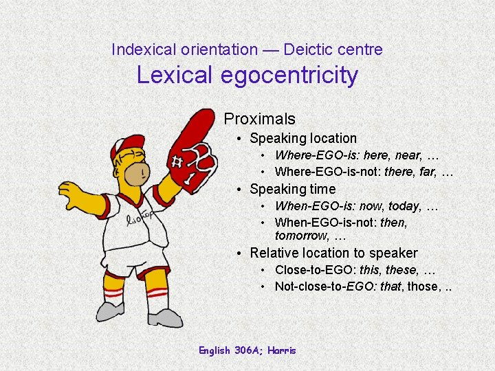 Indexical orientation — Deictic centre Lexical egocentricity Proximals • Speaking location • Where-EGO-is: here,