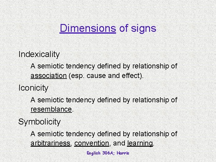 Dimensions of signs Indexicality A semiotic tendency defined by relationship of association (esp. cause
