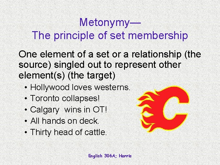 Metonymy— The principle of set membership One element of a set or a relationship