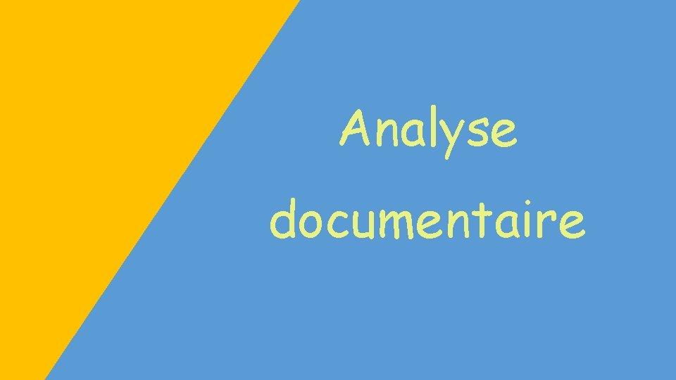 Analyse documentaire