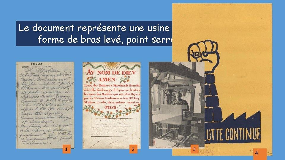 Le document représente une usine avec une cheminée en forme de bras levé, point