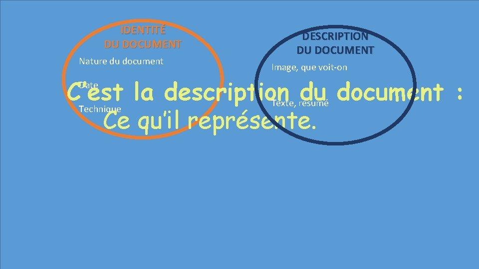 IDENTITÉ DU DOCUMENT Nature du document DESCRIPTION DU DOCUMENT Image, que voit-on C'est la