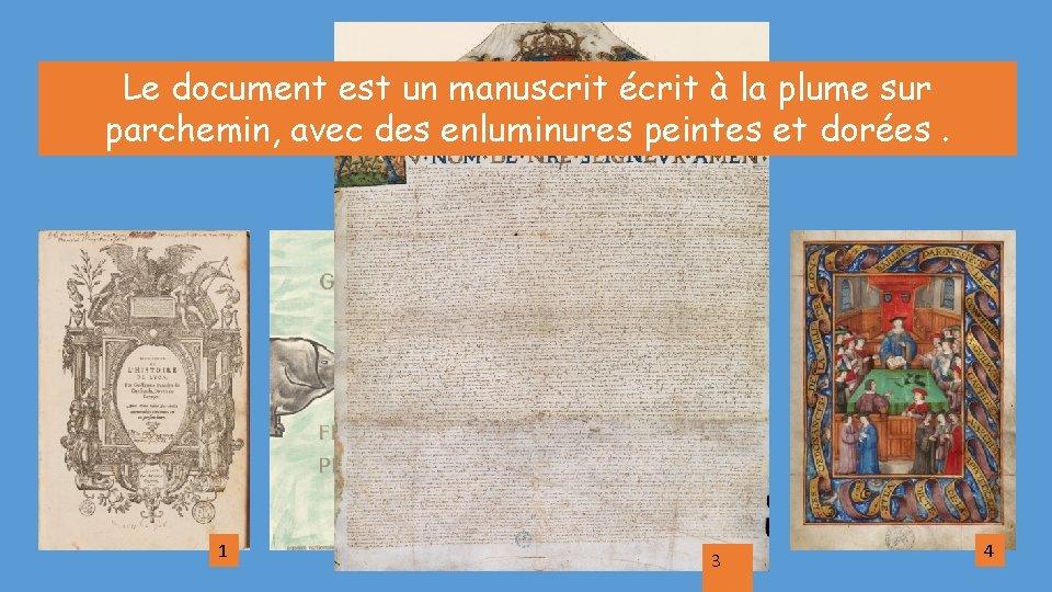 Le document est un manuscrit écrit à la plume sur parchemin, avec des enluminures