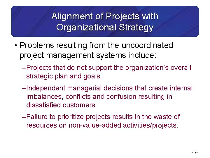 Alignment of Projects with Organizational Strategy • Problems resulting from the uncoordinated project management