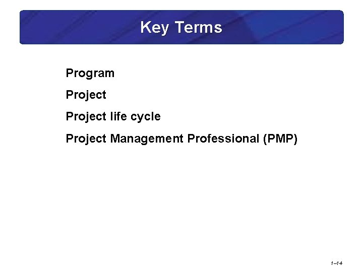 Key Terms Program Project life cycle Project Management Professional (PMP) 1– 14